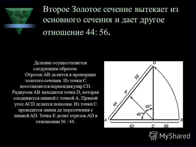 Второе Золотое сечение вытекает из основного сечения и дает другое отношение 44: 56. Деление осуществляется следующим образом. Отрезок АВ делится в пропорции золотого сечения. Из точки С восставляется перпендикуляр СD. Радиусом АВ находится точка D,