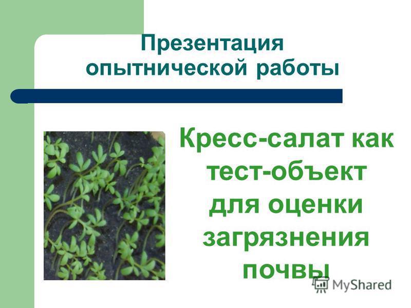 Презентация опытнической работы Кресс-салат как тест-объект для оценки загрязнения почвы