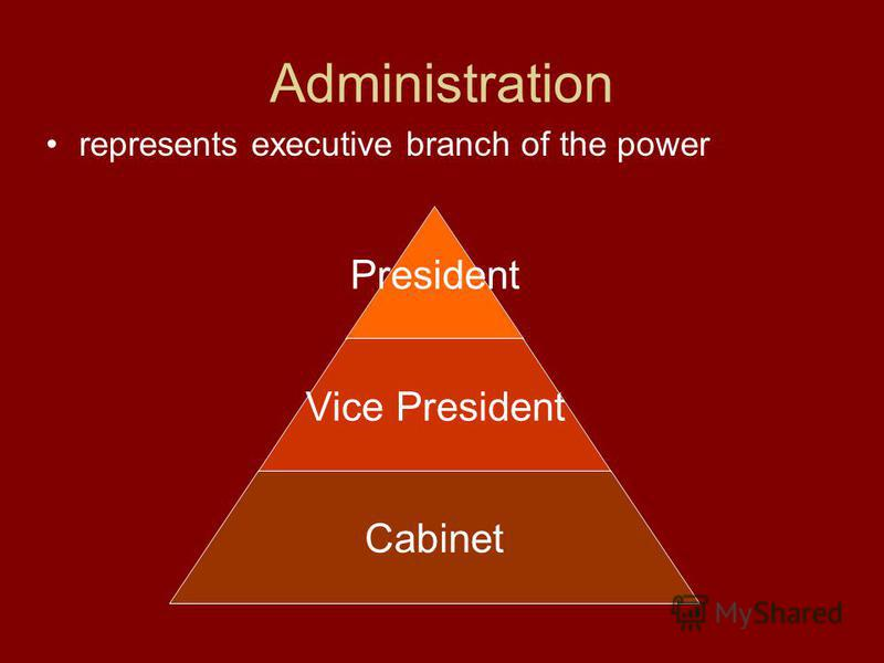 Administration represents executive branch of the power President Vice President Cabinet