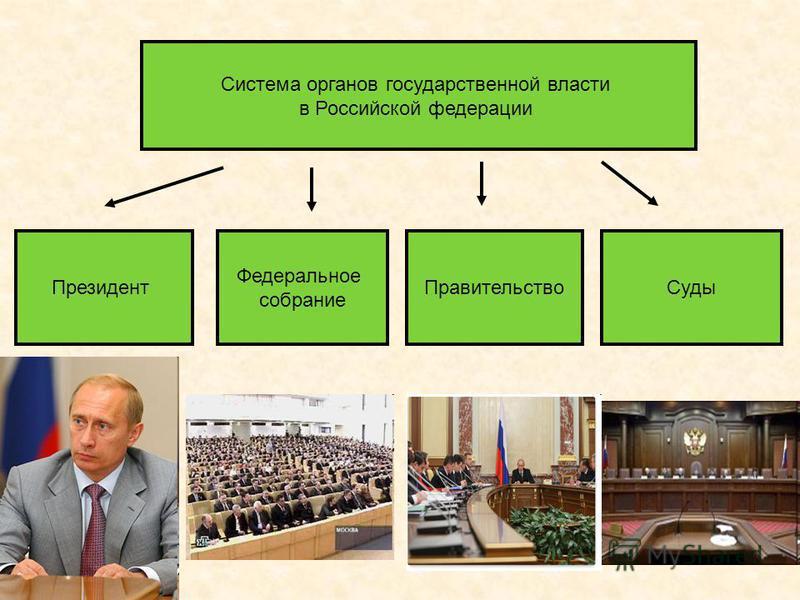 Система органов государственной власти в Российской федерации Президент Федеральное собрание Правительство Суды