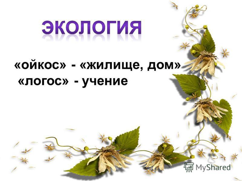 «ойкос» - «жилище, дом» «логос» - учение