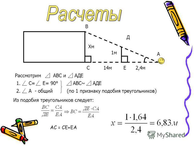 1.С= Е= 90° 2.А- общий АВС~АДЕ (по 1 признаку подобия треугольников) РассмотримАВС иАДЕ Д А Хм 1 м В С14 мЕ2,4 м Из подобия треугольников следует: АС = СЕ+ЕА