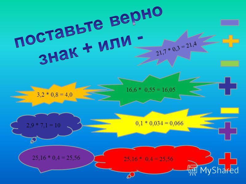 3,2 * 0,8 = 4,0 16,6 * 0,55 = 16,05 21,7 * 0,3 = 21,4 0,1 * 0,034 = 0,066 2,9 * 7,1 = 10 25,16 * 0,4 = 25,56