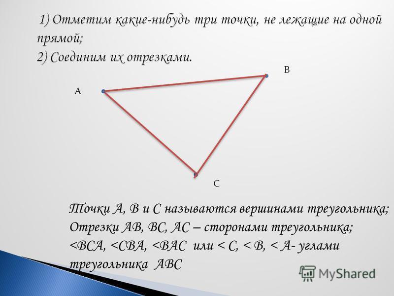 А В С Точки А, В и С называются вершинами треугольника; Отрезки АВ, ВС, АС – сторонами треугольника; <ВСА, <СВА, <ВАС или < С, < В, < А- углами треугольника АВС
