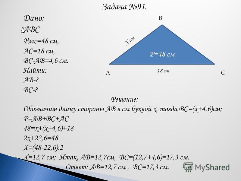 Задача 91. Дано: ABC Р АВС =48 см, АС=18 см, ВС-АВ=4,6 см. Найти: АВ-? ВС-? Решение: Обозначим длину стороны АВ в см буквой х, тогда ВС=(х+4,6)см; Р=АВ+ВС+АС 48=х+(х+4,6)+18 2 х+22,6=48 Х=(48-22,6):2 Х=12,7 см; Итак, АВ=12,7 см, ВС=(12,7+4,6)=17,3 см