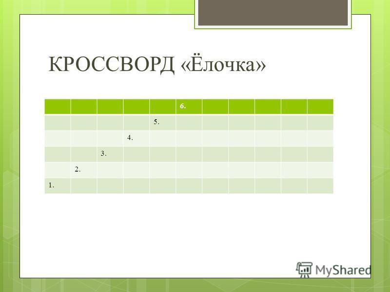 КРОССВОРД «Ёлочка» 6. 5. 4. 3. 2. 1.