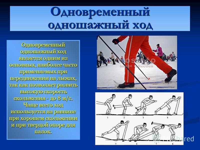 Одновременный одношажный ход Одновременный одношажный ход является одним из основных, наиболее часто применяемых при передвижении на лыжах, так как позволяет развить высокую скорость скольжения - до 8 м/с. Чаще всего ход используется на равнине при х