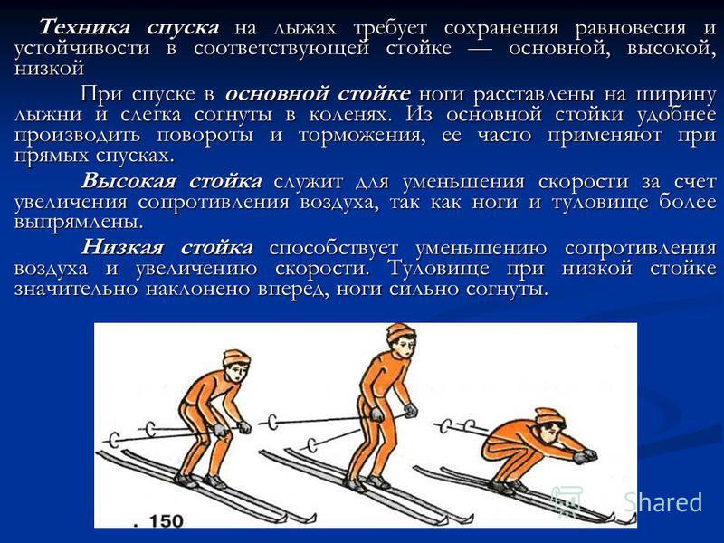 Техника спуска на лыжах требует сохранения равновесия и устойчивости в соответствующей стойке основной, высокой, низкой При спуске в основной стойке ноги расставлены на ширину лыжни и слегка согнуты в коленях. Из основной стойки удобнее производить п