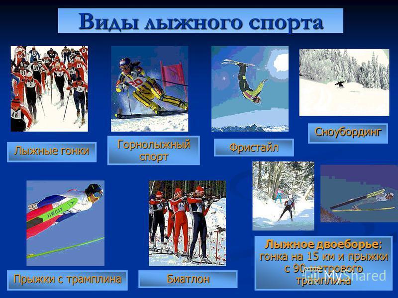 Лыжные гонки Прыжки с трамплина Лыжное двоеборье: гонка на 15 км и прыжки с 90-метрового трамплина Биатлон Горнолыжный спорт Фристайл Сноубординг Виды лыжного спорта