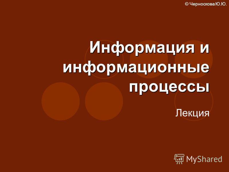 © Черноскова Ю.Ю. Информация и информационные процессы Лекция