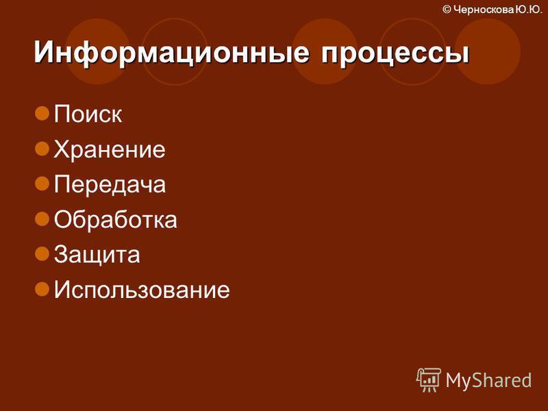 © Черноскова Ю.Ю. Информационные процессы Поиск Хранение Передача Обработка Защита Использование