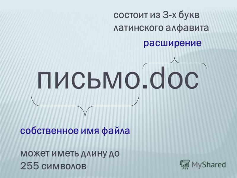 письмо.doc собственное имя файла расширение может иметь длину до 255 символов состоит из 3-х букв латинского алфавита