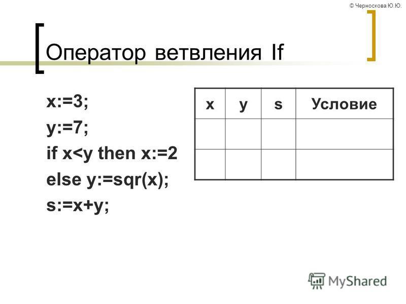© Черноскова Ю.Ю. Оператор ветвления If x:=3; y:=7; if x<y then x:=2 else y:=sqr(x); s:=x+y; xys Условие