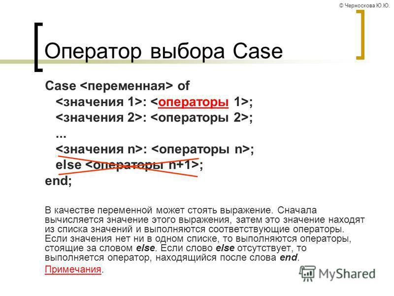 © Черноскова Ю.Ю. Оператор выбора Case Case of : ;операторы : ;... : ; else ; end; В качестве переменной может стоять выражение. Сначала вычисляется значение этого выражения, затем это значение находят из списка значений и выполняются соответствующие