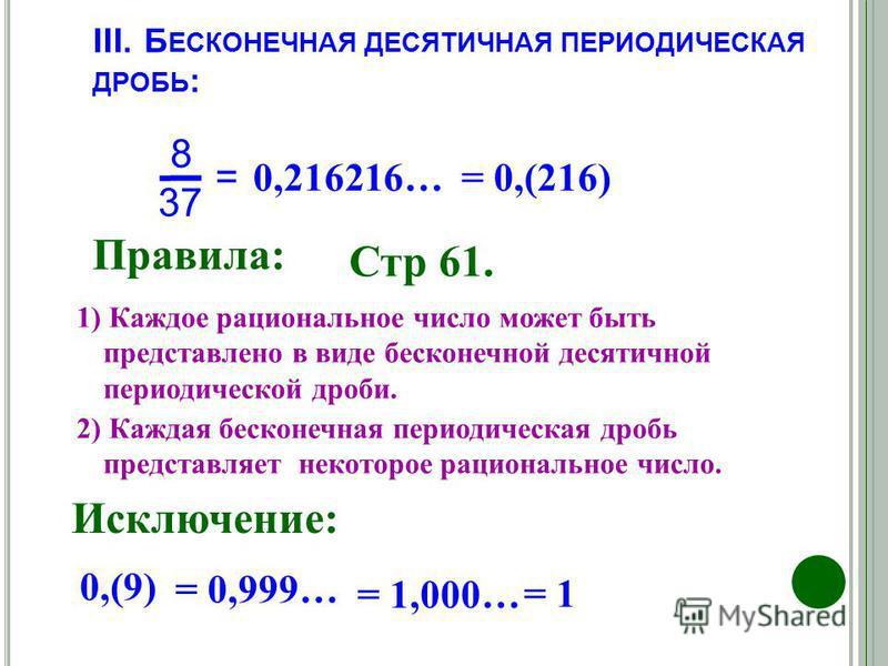 III. Б ЕСКОНЕЧНАЯ ДЕСЯТИЧНАЯ ПЕРИОДИЧЕСКАЯ ДРОБЬ : Правила : = 8 37 0,216216… = 0,(216) Стр 61. 1) Каждое рациональное число может быть представлено в виде бесконечной десятичной периодической дроби. 2) Каждая бесконечная периодическая дробь представ
