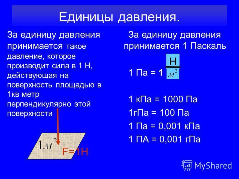 Единицы давления. За единицу давления принимается такое давление, которое производит сила в 1 Н, действующая на поверхность площадью в 1 кв метр перпендикулярно этой поверхности За единицу давления принимается 1 Паскаль 1 Па = 1 1 к Па = 1000 Па 1 г