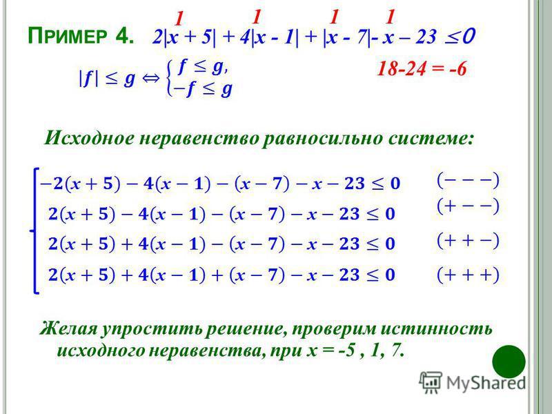 П РИМЕР 4. Исходное неравенство равносильно системе: 2|х + 5| + 4|х - 1| + |х - 7|- х – 23 0 Желая упростить решение, проверим истинность исходного неравенства, при х = -5, 1, 7. -5 41-23 = 18 7777 48-30 = 18 1 111 18-24 = -6