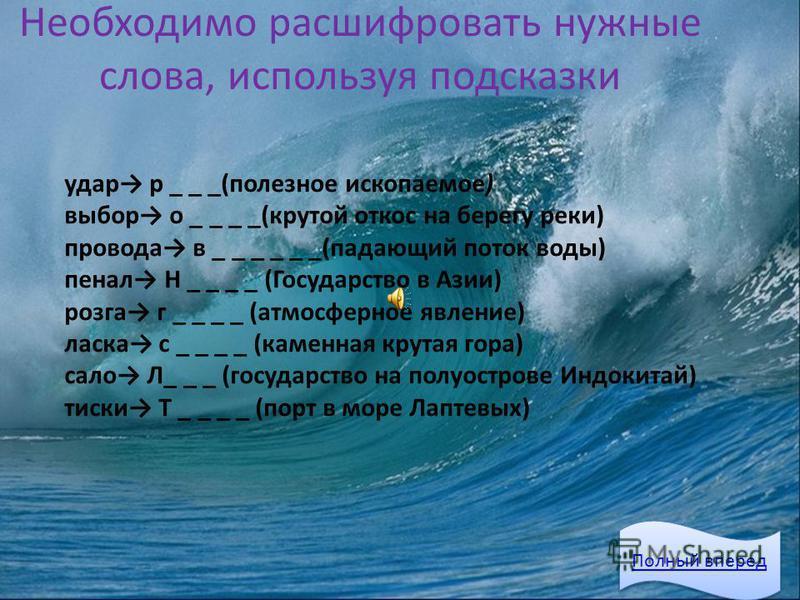 Необходимо расшифровать нужные слова, используя подсказки Полный вперед удар р _ _ _(полезное ископаемое) выбор о _ _ _ _(крутой откос на берегу реки) провода в _ _ _ _ _ _(падающий поток воды) пенал Н _ _ _ _ (Государство в Азии) розга г _ _ _ _ (ат