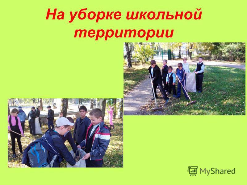 На уборке школьной территории