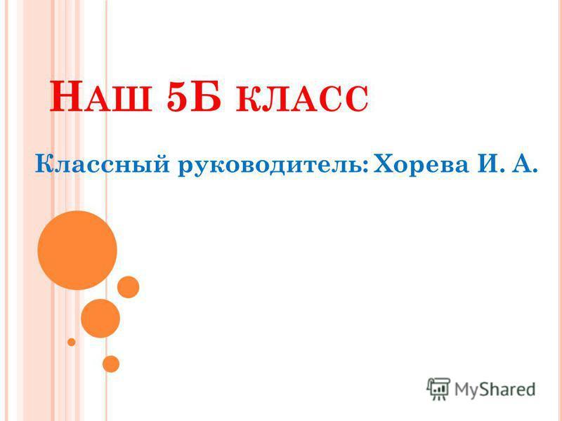 Н АШ 5Б КЛАСС Классный руководитель: Хорева И. А.