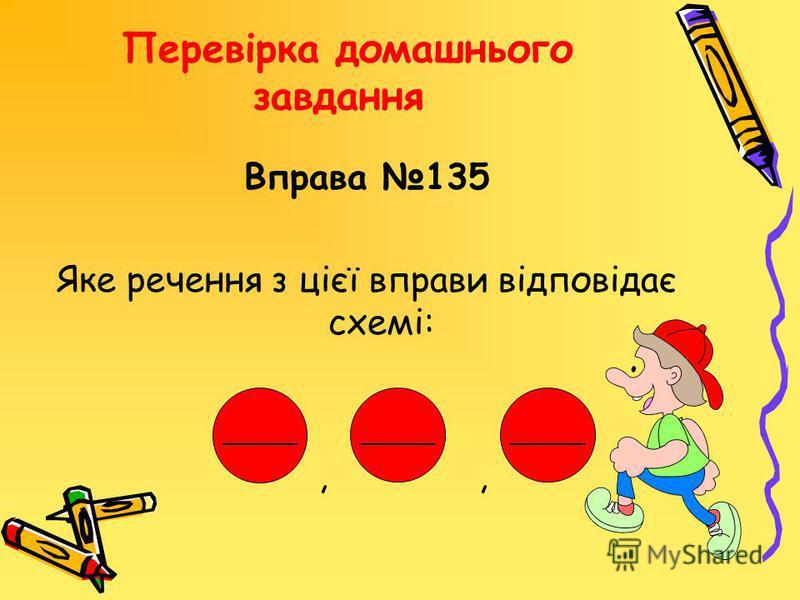 Перевірка домашнього завдання Вправа 135 Яке речення з цієї вправи відповідає схемі:,, ______