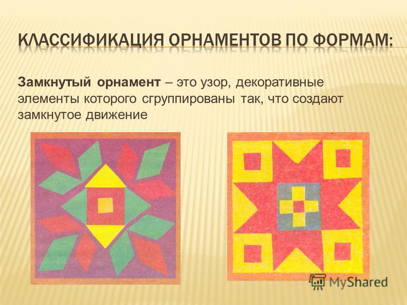 Замкнутый орнамент – это узор, декоративные элементы которого сгруппированы так, что создают замкнутое движение