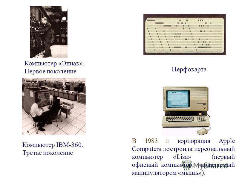 Компьютер «Эниак». Первое поколение Компьютер IBM-360. Третье поколение Перфокарта В 1983 г. корпорация Apple Computers построила персональный компьютер «Lisa» (первый офисный компьютер, управляемый манипулятором «мышь»).