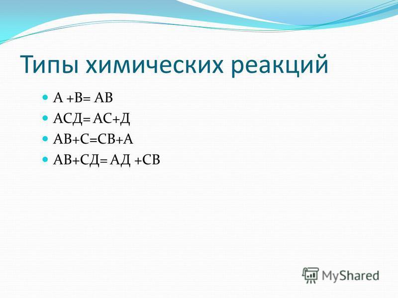 Типы химических реакций А +В= АВ АСД= АС+Д АВ+С=СВ+А АВ+СД= АД +СВ