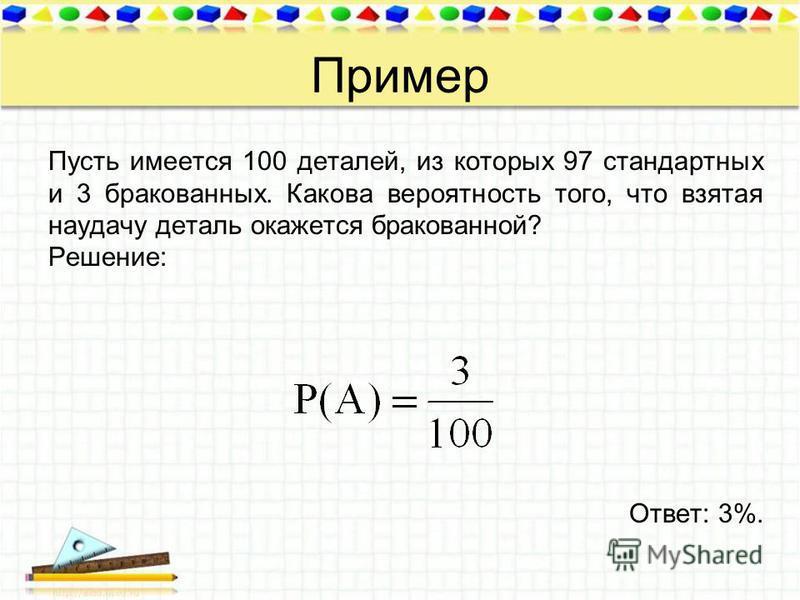 Пример Пусть имеется 100 деталей, из которых 97 стандартных и 3 бракованных. Какова вероятность того, что взятая наудачу деталь окажется бракованной? Решение: Ответ: 3%.