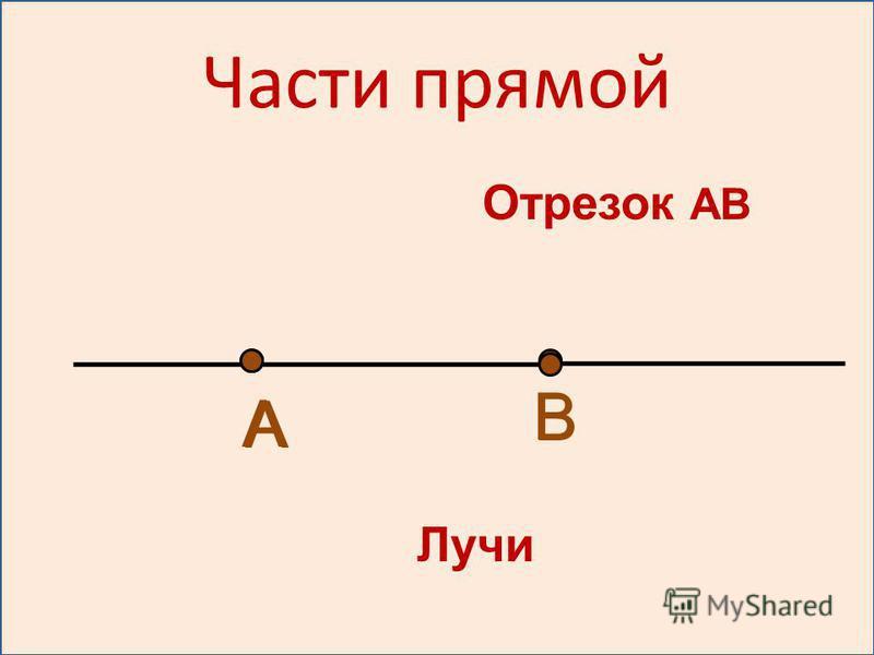 Отрезок АВ Лучи А А В В Части прямой