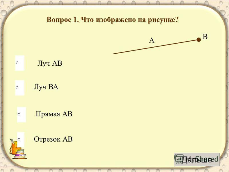 Вопрос 1. Что изображено на рисунке? Луч АВ Луч ВА Прямая АВ Отрезок АВ В А