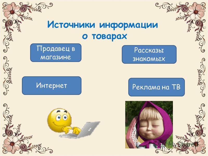 Источники информации о товарах Продавец в магазине Рассказы знакомых Реклама на ТВ Интернет