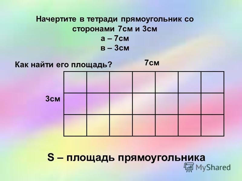 Начертите в тетради прямоугольник со сторонами 7 см и 3 см а – 7 см в – 3 см Как найти его площадь? 7 см 3 см S – площадь прямоугольника