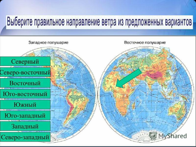 Северо-западный Западный Юго-западный Южный Юго-восточный Восточный Северо-восточный Северный