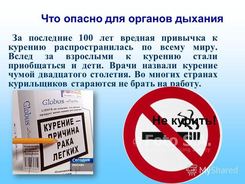 Что опасно для органов дыхания За последние 100 лет вредная привычка к курению распространилась по всему миру. Вслед за взрослыми к курению стали приобщаться и дети. Врачи назвали курение чумой двадцатого столетия. Во многих странах курильщиков стара