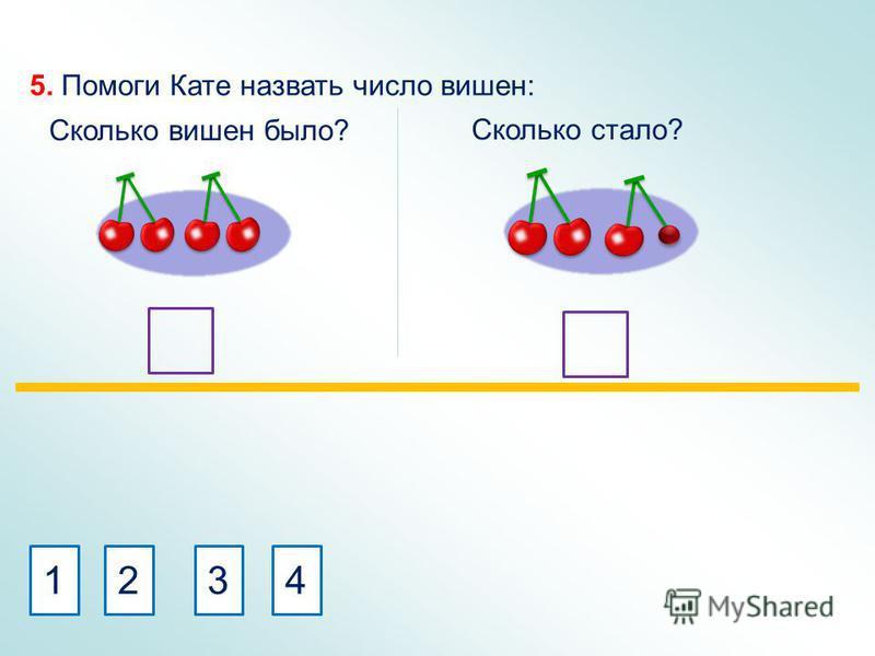 5. Помоги Кате назвать число вишен: Сколько вишен было? Сколько стало? 4321