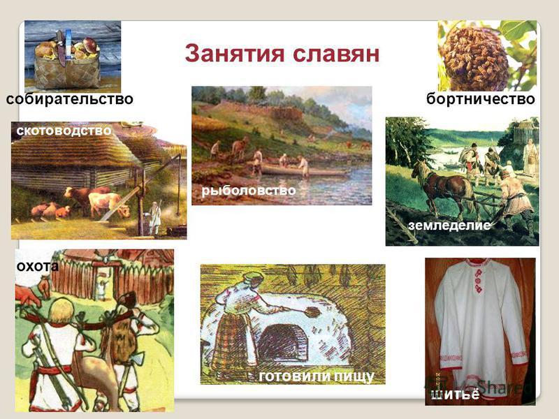 Занятия славян собирательство скотоводство рыболовство бортничество земледелие готовили пищу охота шитьё