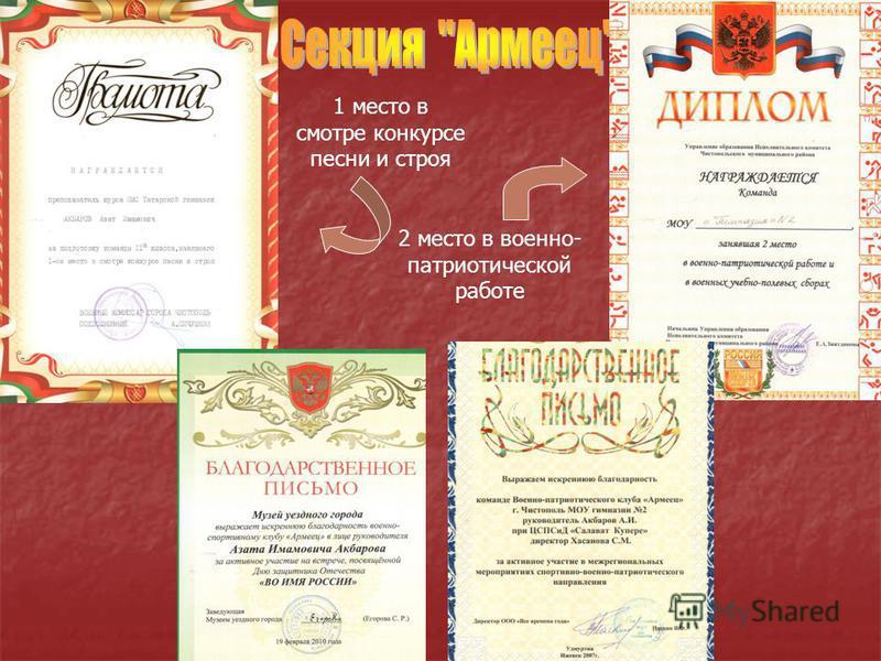 1 место в смотре конкурсе песни и строя 2 место в военно- патриотической работе