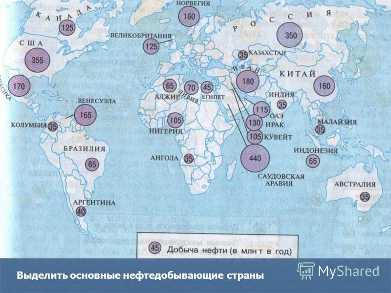 Выделить основные нефтедобывающие страны
