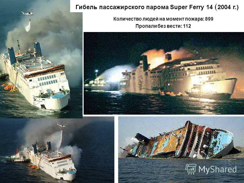 Количество людей на момент пожара: 899 Пропали без вести: 112 Гибель пассажирского парома Super Ferry 14 ( 2004 г.)
