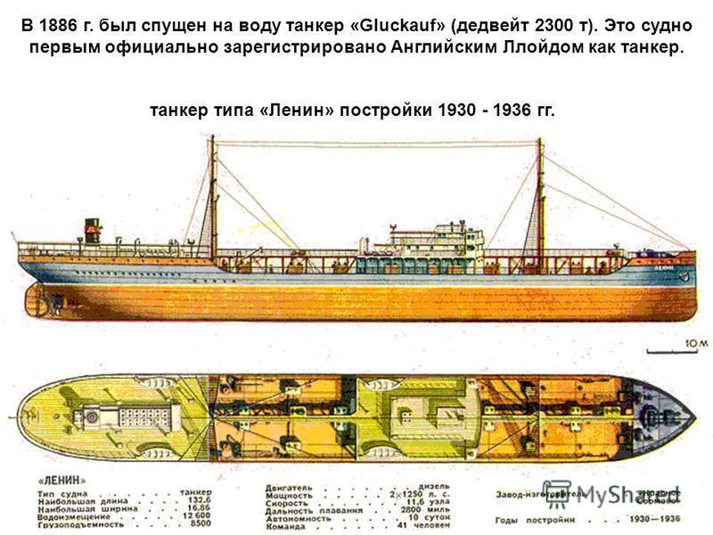 В 1886 г. был спущен на воду танкер «Gluckauf» (дедвейт 2300 т). Это судно первым официально зарегистрировано Английским Ллойдом как танкер. танкер типа «Ленин» постройки 1930 - 1936 гг.