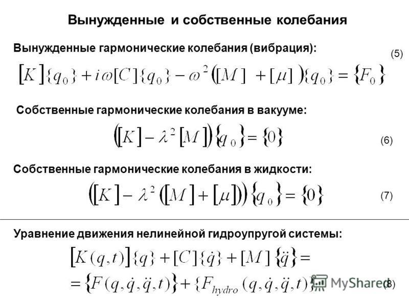 Вынужденные и собственные колебания Вынужденные гармонические колебания (вибрация): Собственные гармонические колебания в вакууме: Собственные гармонические колебания в жидкости: (5) (6) (7) Уравнение движения нелинейной гидроупругой системы: (8)