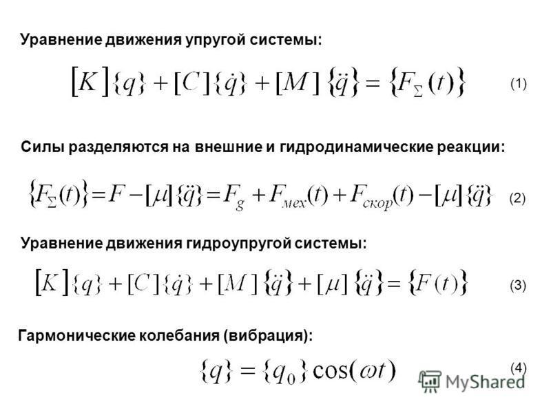 Уравнение движения упругой системы: Силы разделяются на внешние и гидродинамические реакции: Уравнение движения гидроупругой системы: (1) (2) (3) (4) Гармонические колебания (вибрация):