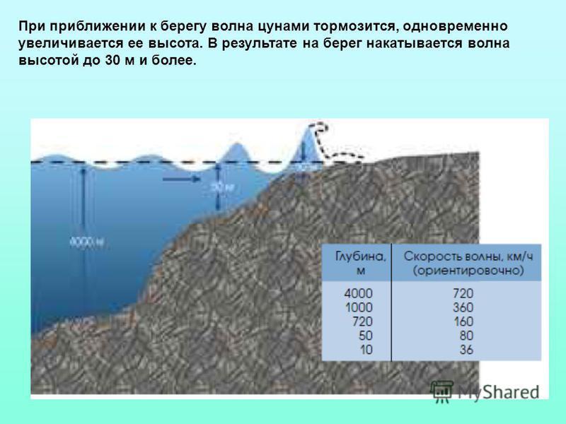 При приближении к берегу волна цунами тормозится, одновременно увеличивается ее высота. В результате на берег накатывается волна высотой до 30 м и более.