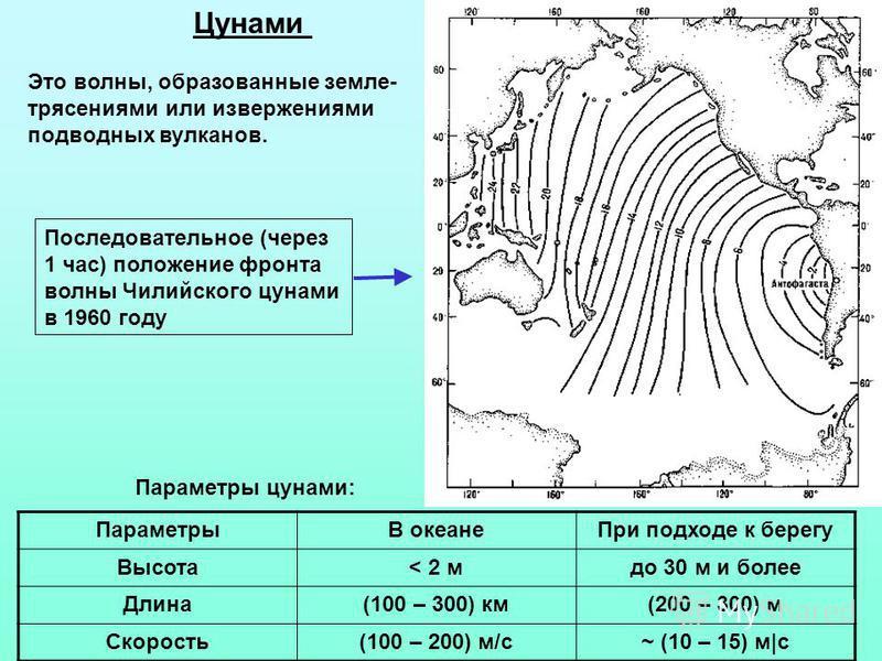 Цунами Это волны, образованные земле- трясениями или извержениями подводных вулканов. ПараметрыВ океане При подходе к берегу Высота< 2 мдо 30 м и более Длина(100 – 300) км(200 – 300) м Скорость(100 – 200) м/с~ (10 – 15) м|c Последовательное (через 1