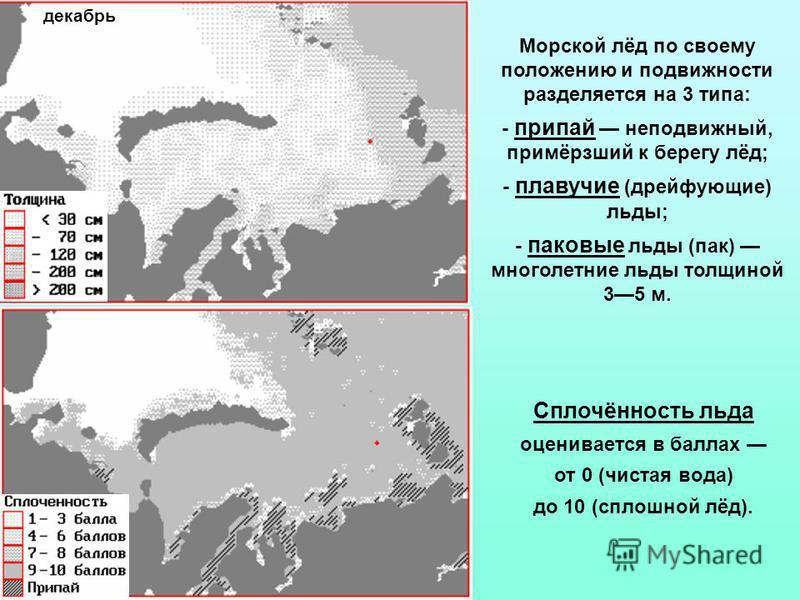 Морской лёд по своему положению и подвижности разделяется на 3 типа: - припай неподвижный, примёрзший к берегу лёд; - плавучие (дрейфующие) льды; - паковые льды (пак) многолетние льды толщиной 35 м. Сплочённость льда оценивается в баллах от 0 (чистая