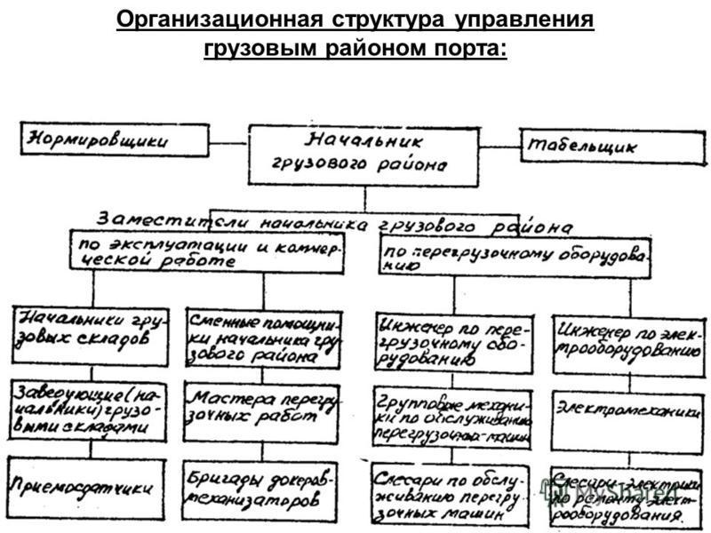 Организационная структура управления грузовым районом порта:
