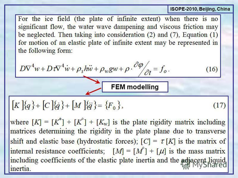 ISOPE-2010, Beijing, China FEM modelling