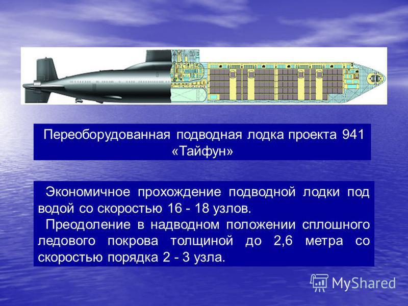 Экономичное прохождение подводной лодки под водой со скоростью 16 - 18 узлов. Преодоление в надводном положении сплошного ледового покрова толщиной до 2,6 метра со скоростью порядка 2 - 3 узла. Переоборудованная подводная лодка проекта 941 «Тайфун»