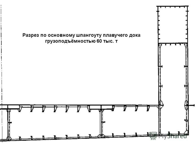 Разрез по основному шпангоуту плавучего дока грузоподъёмностью 60 тыс. т